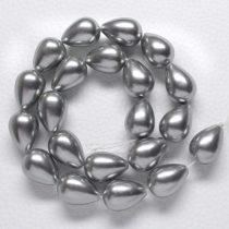 Kagylógyöngy (shell pearl), szürke - 20x14mm-es csepp - 1db