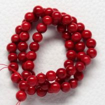 Bambuszkorall (festett piros) gyöngy - 7,5-8mm-es golyó - 1db