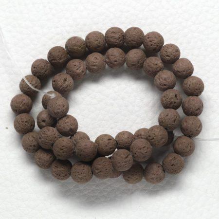 Lávakő (festett barna) gyöngy - 8mm-es golyó - 1db