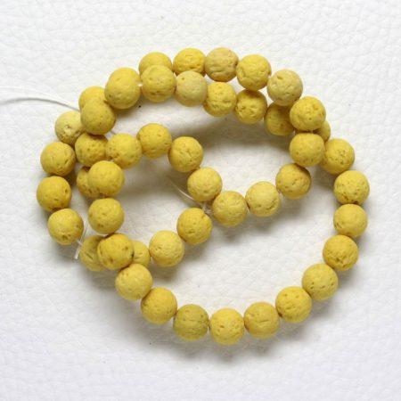 Lávakő (festett sárga) gyöngy - 8mm-es golyó - 1db