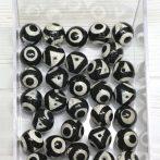 Dzi achát - 3 szem (festett, hevített) fekete-fehér ásványgyöngy - 10mm-es golyó - 1db