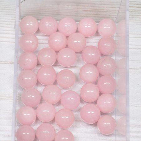 Jáde (festett rózsaszín) ásványgyöngy - 10mm-es golyó - 1db