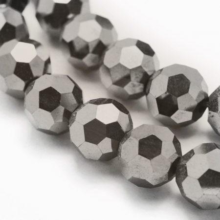 Hematit ásványgyöngy - 10mm-es FAZETTÁLT golyó - 1db