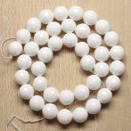 Kagylóhéj (fehér) gyöngy - 10mm-es FAZETTÁLT golyó - 1db