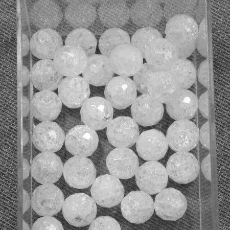 Hegyikristály (hevítéssel roppantott) ásványgyöngy - 10mm-es FAZETTÁLT golyó - 1db