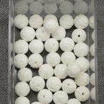 Kagylóhéj, faragott lótuszvirág gyöngy - 10mm-es golyó - 1db