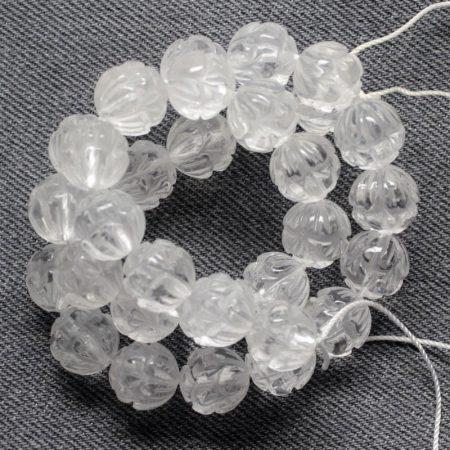 Hegyikristály ásványgyöngy - 12mm-es lótuszvirág golyó - 1db