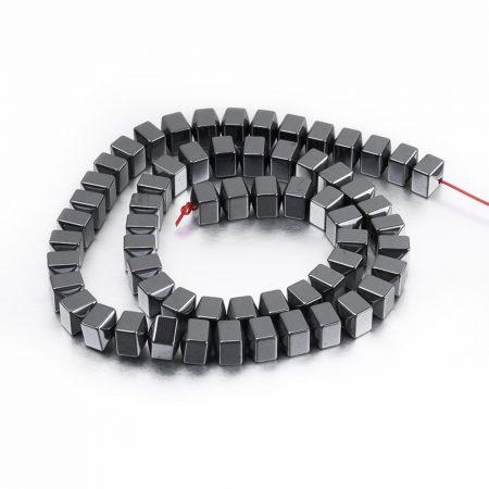 Hematit ásványgyöngy - 6mm-es csapott gúla végű hasáb - 1db