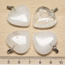 Hegyikristály (zárványos) ásványmedál - 2,5cm-es szív