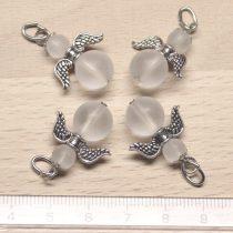 Hegyikristály (matt csiszolású) ásványmedál - 2cm-es angyal