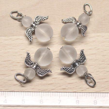 Hegyikristály (matt csiszolású) ásványmedál - 2cm-es angyal / tündér