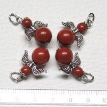 Vörösjáspis ásványmedál - 2cm-es angyal