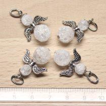 Hegyikristály (hevítéssel roppantott) ásványmedál - 2cm-es angyal