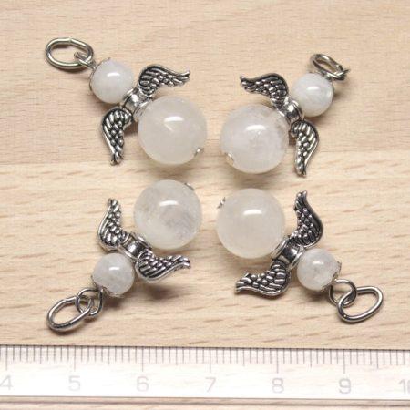 Fehér holdkő ásványmedál - 2cm-es angyal