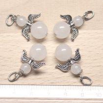 Fehér jáde ásványmedál - 2cm-es angyal