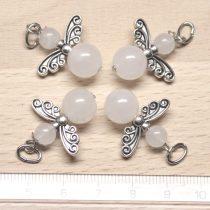 Fehér jáde ásványmedál - 2cm-es angyal / tündér