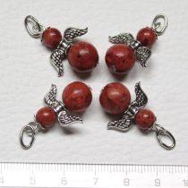 Vörös szivacskorall (festett) ásványmedál - 2cm-es angyal