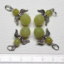 Olíva jáde ásványmedál - 2cm-es angyal