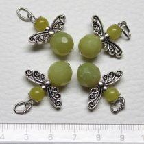 Olíva jáde ásványmedál - 2cm-es angyal / tündér