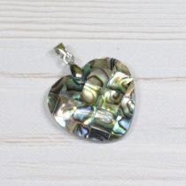 Pávakagyló mozaik medál - 2,5cm-es szív