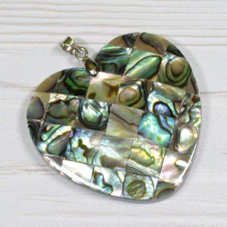 Pávakagyló mozaik medál - 4cm-es szív