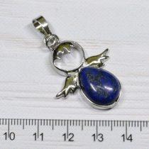 Lápisz lazuli angyal medál, ródium színű fém részekkel, 34x26mm