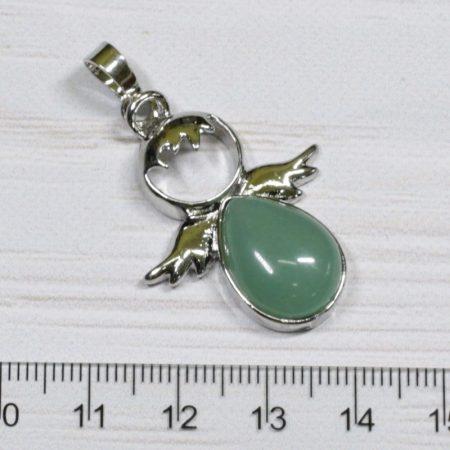 Aventurin angyal medál, ródium színű fém részekkel, 34x26mm