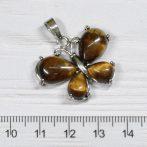 Tigrisszem pillangó medál, ródium színű fém részekkel, 24x30mm