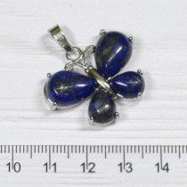 Lápisz lazuli  pillangó medál, ródium színű fém részekkel, 24x30mm