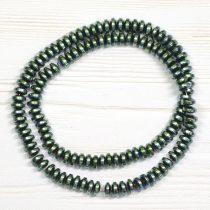 Hematit (préselt) ásványgyöngy - 3x6mm-es lencse - galvanizált zöldes színű - 1db