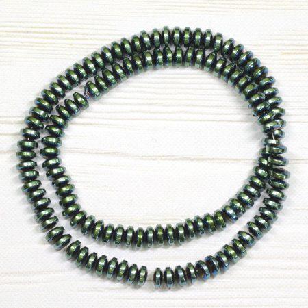 Hematit ásványgyöngy - 3x6mm-es lencse - galvanizált zöldes színű - 1db