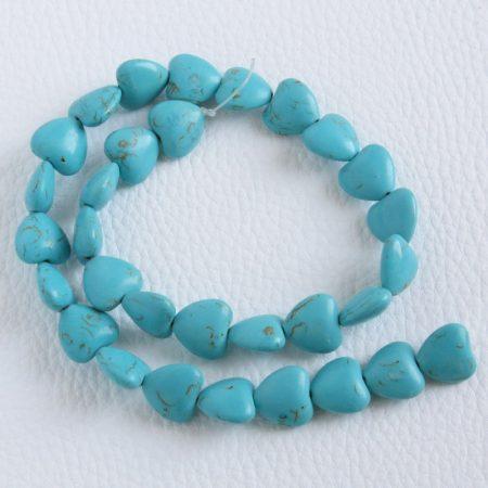 Türkenit (festett magnezit) ásványgyöngy - 13x14mm-es fűzhető szív - 1db