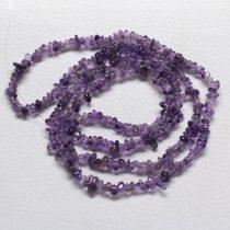 Ametiszt ásvány splitter / szemcse - gömbölyített szemű - kb. 85cm-es szál