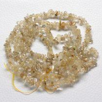 Arany rutilkvarc féldrágakő splitter - gömbölyített szemű - kb. 85cm-es szál