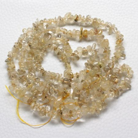 Arany rutilkvarc ásvány splitter / szemcse - gömbölyített szemű - kb. 85cm-es szál