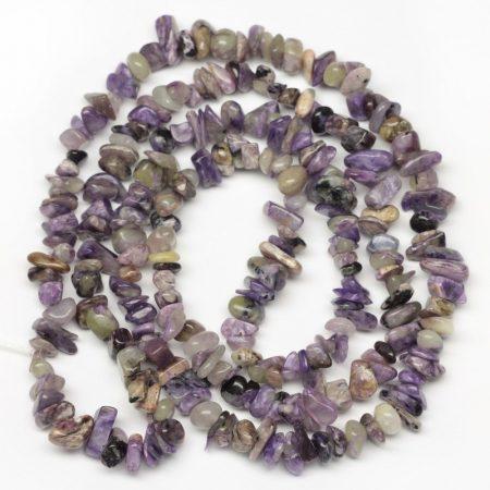 Csaroit ásvány splitter / szemcse - gömbölyített szemű - kb. 85cm-es szál