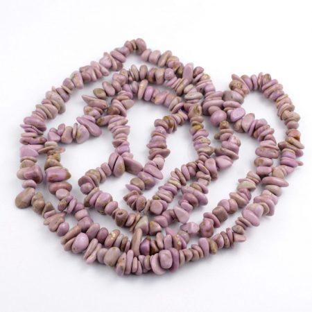 Foszfosziderit ásvány splitter / szemcse - gömbölyített szemű - kb. 85cm-es szál