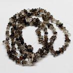Füstkvarc (sötét) ásvány splitter / szemcse - gömbölyített szemű - kb. 85cm-es szál