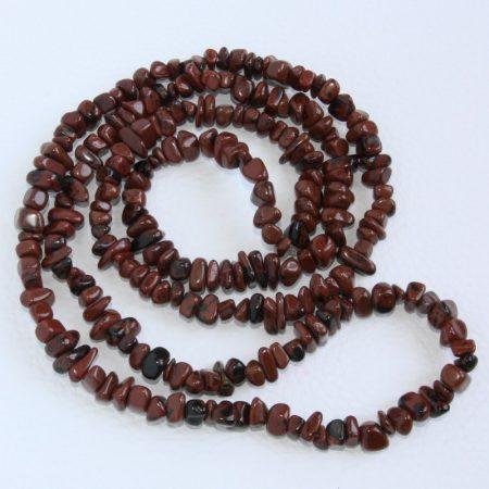 Mahagóni-obszidián ásvány splitter / szemcse - gömbölyített szemű - kb. 85cm-es szál