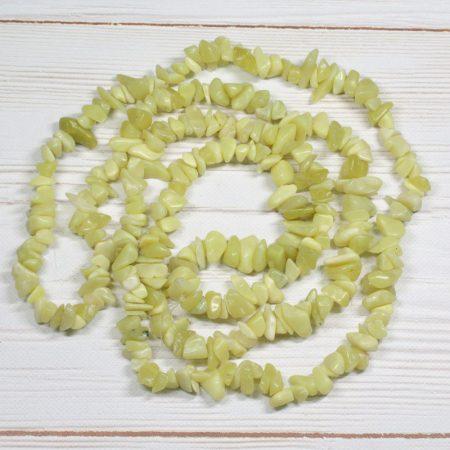 Olíva jáde ásvány splitter / szemcse - kb. 85cm-es szál