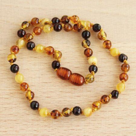 Borostyán baba nyaklánc - gömbölyű / multi(4)kolor - kb. 32cm