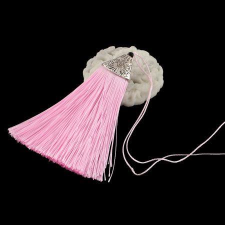 8cm-es bojt antik ezüst színű CCB akril gyöngykupakkal - rózsaszín