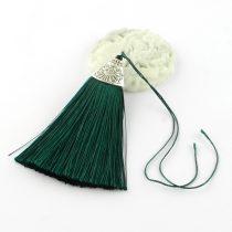 8cm-es bojt antik ezüst színű CCB akril gyöngykupakkal - sötétzöld