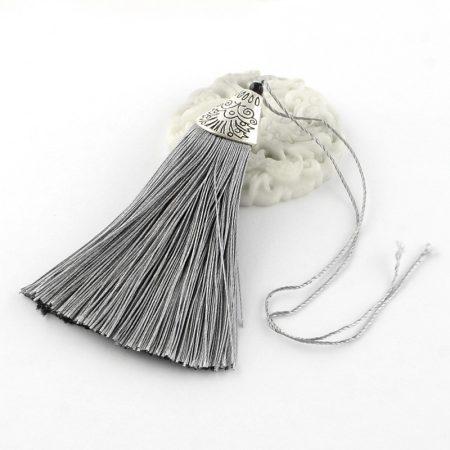 8cm-es bojt antik ezüst színű CCB akril gyöngykupakkal - szürke