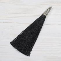 9cm-es bojt antik ezüst színű tibeti stílusú gyöngykupakkal - fekete