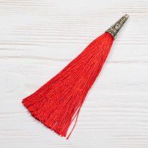 9cm-es bojt antik ezüst színű tibeti stílusú gyöngykupakkal - piros