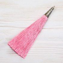 9cm-es bojt antik ezüst színű tibeti stílusú gyöngykupakkal - rózsaszín