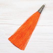 9cm-es bojt antik ezüst színű tibeti stílusú gyöngykupakkal - sötét narancssárga