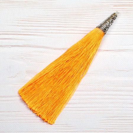 9cm-es bojt antik ezüst színű tibeti stílusú gyöngykupakkal - világos narancssárga