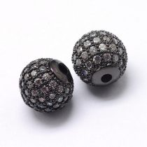 Cirkónia kristályos, fekete (gunmetal) színű 8mm-es golyó gyöngy, furat: 1,8mm